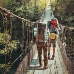 Travelers Crossing Through Hanging Bridge